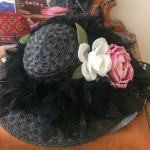 Gorgeous Vintage Hat Flowers Bow Beaded
